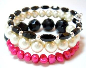 Black Silver Pearl Hot Pink Fuchsia Memory Wire Bracelet