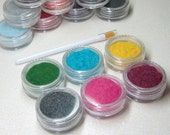 flocking powder set 6 jars in your choice of 17 colors CUSTOMIZE YOUR OWN kit pink blue gray black yellow purple white orange red green