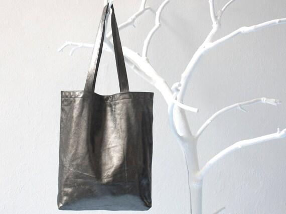 Genuine Leather Tote Bag in Black Silver Shimmer with Black Cotton Lining, removable leather key strap, laptop bag, shoulder bag