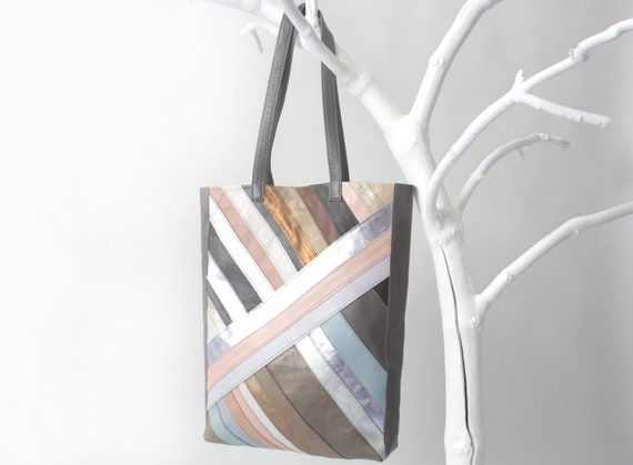 20% OFF Genuine Leather Patchwork Tote Bag in Grey with Stripes (last one), grey cotton lining, with removable leather key strap
