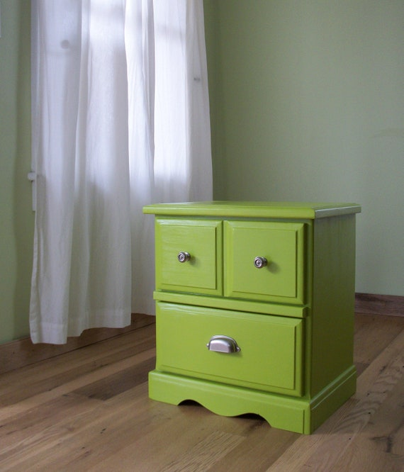 RESERVED Ecofriendly Refinished Green Nighstand