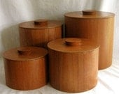 RESERVED for ALICE ONLY - Vintage 4 Teak Canisters Mid Century Danish Style Japan