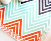 Afghan Chevron Lucite Tray - Custom Colors of your choice