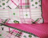 Girl John Deere fabric nursery girl toddler bedding pink John Deere fabric crib sheet set 3 pc nursery bedding infant bedding