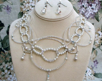 """Bridal Necklace """"Crystal and Pearl Symphony"""" with Earrings"""