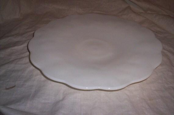 vintage milk glass cake plate