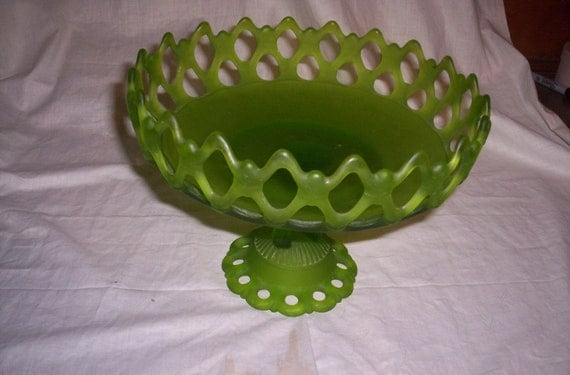 Vintage Green Satin Glass Fruit Banana Bowl Pedestal