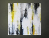 """15% OFF, now through 3/6/13. Enter code 15OFF at checkout. 20"""" x 20"""" Modern Contemporary Abstract Yellow, Gray, Black, White Painting"""