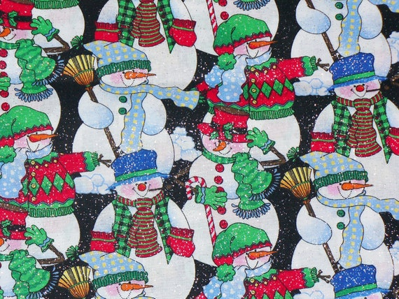 Christmas Fabric / Snowmen Fabric / Glitter for Sinem Koroglu