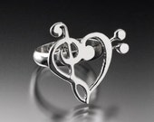 Silver Ring Musical Love Treble bass universalgroove relationship gift Jazz Classic Choir band adjustable Chester Allen signed jewelry art
