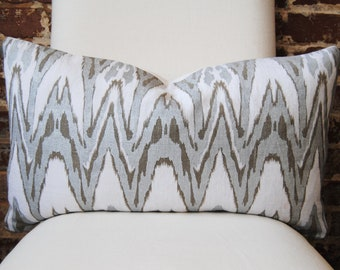 NEW PRICE - Ikat - Silver and Bronze Hand Print on Natural Linen - Pillow Cover - Lumbar - 14in x 24in