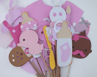 pink baby shower photo booth props Clearance sale!