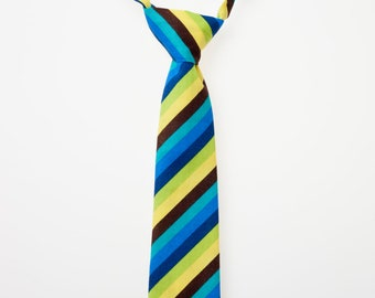 Boys Neck Tie - Blue, Brown, Green, and Yellow Stripes
