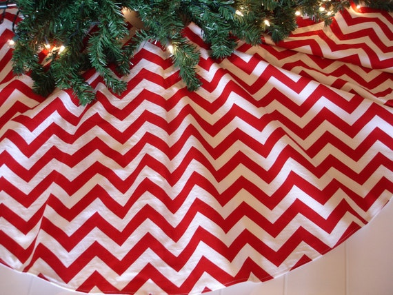 "40"" Chevron Christmas Tree Skirt, Red and White, Contemporary, Modern Tree Skirt"