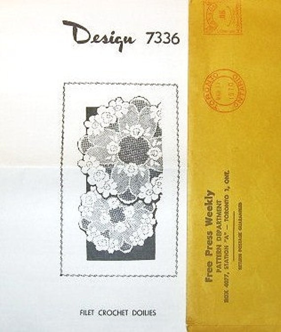 Full Bloom Roses Motif and Petal Scallops Set of Filet Crocheted Doilies - Vintage 1970s Design Mail Order Crochet Craft Pattern 7336