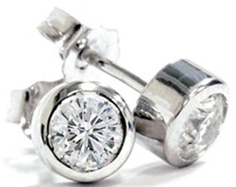 Diamond Studs .75CT Round Brilliant Cut 14K White Gold Earrings