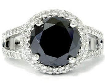 Black Diamond Vintage Halo 6.10CT HUGE Engagement Ring 14K White Gold