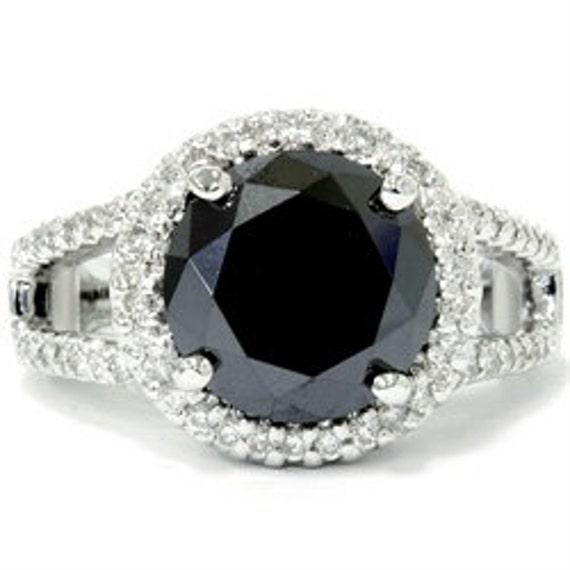 Black Diamond Vintage Halo 6.10CT HUGE Engagement Ring 14K White Gold