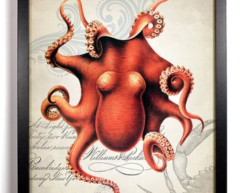 Red Octopus, Home, Kitchen, Nursery, Bath, Dorm, Office Decor, Wedding Gift, Housewarming Gift, Unique Holiday Gift, Wall Poster