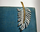1960s Vintage Feather Brooch Pin. Mid Century. White beads and Gold Tone Metal..