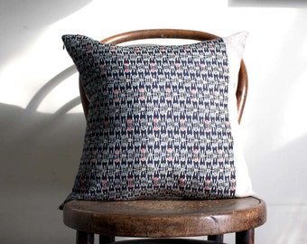 Recycled Decorative Pillow Cover. Blue, Red, Cream Vintage Kimono Wool and Natural Linen.