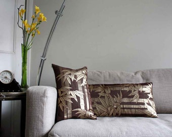 Golden Bamboo Statement Pillow/ accent Cushion Cover. Recycled Vintage japanese Obi Belt and Natural Undyed Linen.