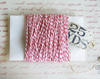 Bakers Twine in Red and White 25 Yards | Peppermint Stripes