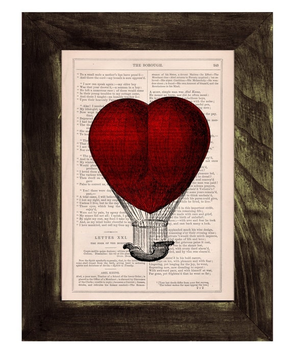 Spring Sale Book print Love Hot air Balloon   Print on Vintage Book - mixed media art BPTV092