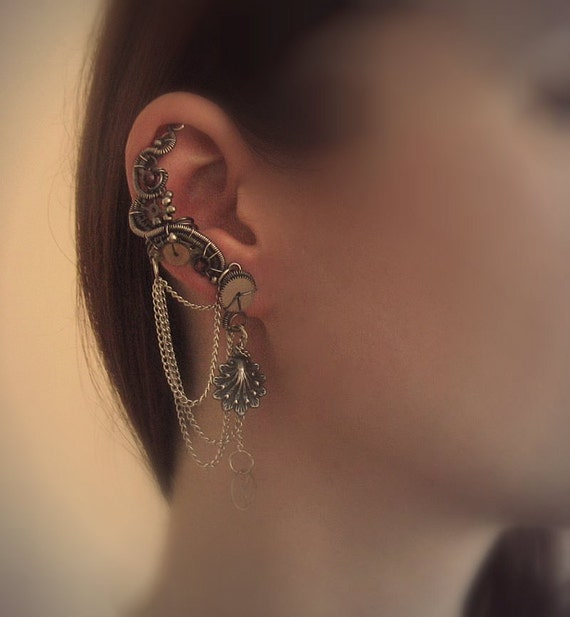 Steampunk Ear Cuff With Chains, Garnets And Stud Earrings