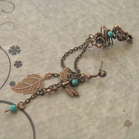 Cuff Chain Earring With Turquoise Beads, Dragonfly And Leaf Charm