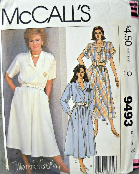McCall's 9493 Dress and Permanent Blue Transfer, Size 16