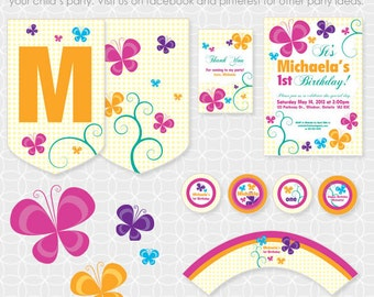 Party Printable Butterfly Birthday Party Theme Basic Package - Personalized Printable - flowers, floral, summer, spring, birthday