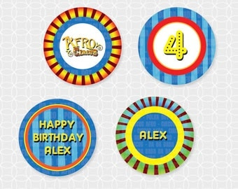 Circus Party Circles - Personalized Printable with BONUS