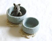 Baby shower gift - Felted bowl in Dusk blue - Dusty pastel mint blue - organic wool - Set of two - mother day gift - soft organizer
