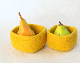 Square felted bowl Mustard yellow - Cozy little storage - block color nesting wool bowls set of two - ring holder