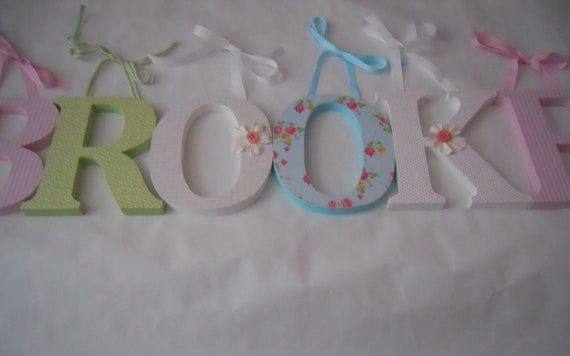 Wooden letters for nursery pink,white, green and blue
