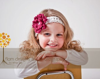 Crochet Pattern for Loopy Flower Headband  - Sizes baby to adult - Welcome to sell finished items