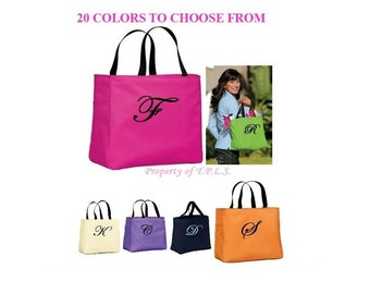Custom Tote Bag Bridesmaid Gift Cheer Dance Monogrammed Green Embroidered Baby Wedding 20 Colors