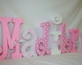 Girl decor, Pink and white, White polka dots, 7 letter set, Girls room, Girl nursery, Kids room decor, Nursery letters, Hanging letters