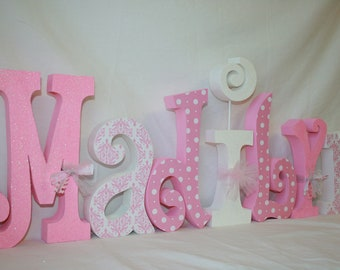 Wooden letters Nursery letters Pink and white damask 15.00 per letter Custom nursery decor Name letters Room decor Wood nursery letters