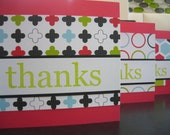 Thank You Cards Set of 6 Modern Graphics Red