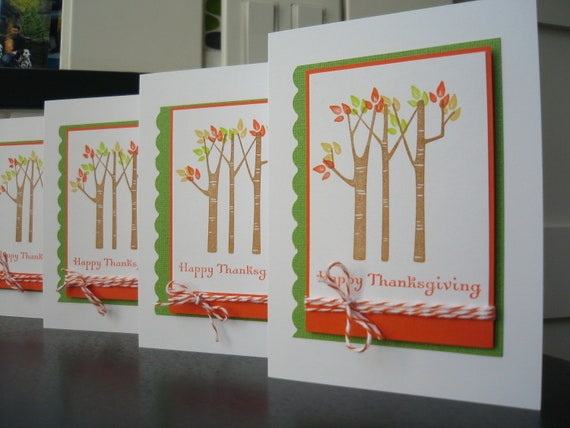Reserved for Deidre: Thanksgiving Cards Autumn Birch Trees Set of 4