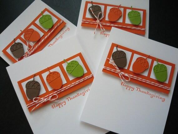 Reserved for Deidre: Thanksgiving Cards Set of 4 Autumn Acorns