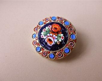 vintage Italian mosaic pin - floral, venetian, round, gold