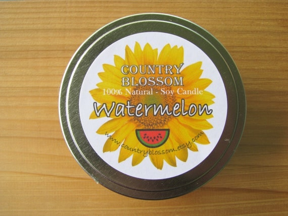 Watermelon Scented 8 oz Tin Soy Wax Candle
