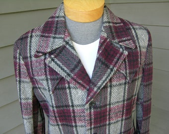 vintage 1950's Men's Western coat. 'New Old Stock' w/ tags. Fuzzy Purple / Gray Plaid - Wool. Size 40