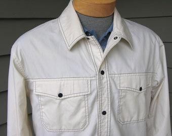 vintage 60's - 70's Brooks Brothers Men's wind breaker. Lightweight jacket. Off white w/ Blue stitching. Large