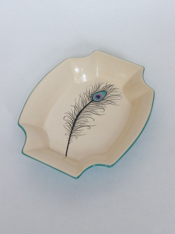 Peacock Feather Serving Dish Small