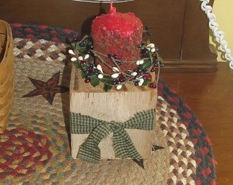 Barn beam candle holder with grubby pillar candle