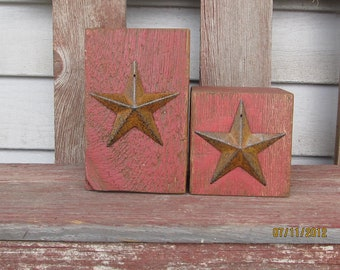 Primitive Americana Red Barn Beam Candle Holders